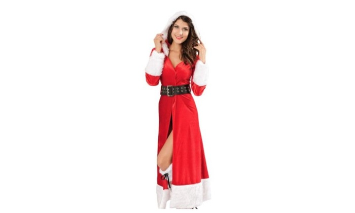 Ladies Sexy Miss Mrs Santa Christmas Velvet Fancy Dress Costume Outfit – Red / one size