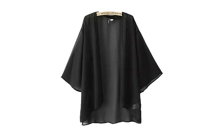 Women's Print Sheer Chiffon Kimono Cardigan Swimsuit Cover up Dress - black 9d8acb1f-4f95-435f-b66b-7eff3ae6f6e0