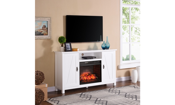 Adderly Farmhouse Style Infrared Electric Fireplace Tv Stand