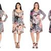 24seven Comfort Apparel Floral Gardens Long Sleeve Knee Length Dress