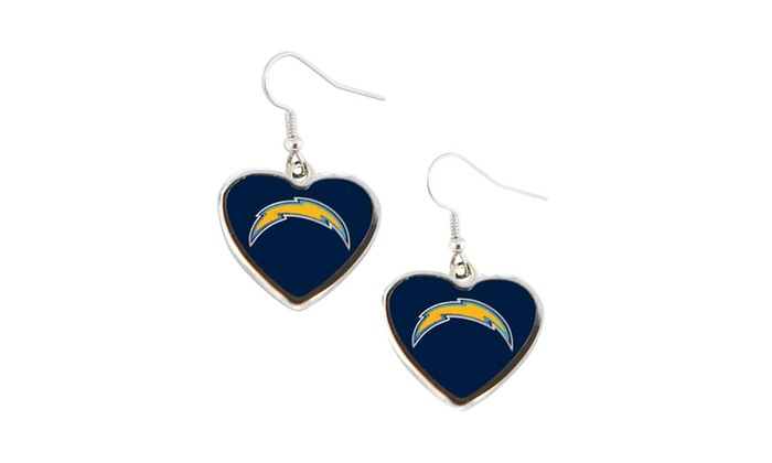 SAN Diego Chargers  Non-Swirl Heart Shape Dangle Earring