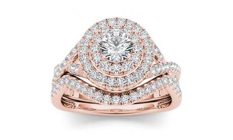 10k Rose Gold 3/4ct TDW Diamond Double Halo Bridal Ring Set (H-I, I2)