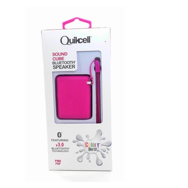 New Quikcell Sound Cube Bluetooth Wireless Speaker Pink Pop