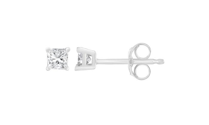 f33e198fe 14K White Gold 1 ct Princess Cut Diamond Solitaire Stud Earrings (G-H,  SI1-SI2)