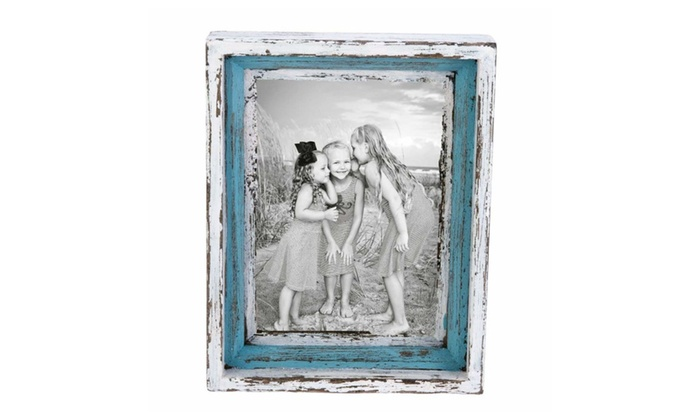 Up To 7% Off on Wood Blue White Photo Frame D... | Groupon Goods