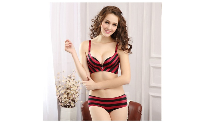 Sexy Seamless Push Up Bra Sets Striped silk underwear