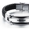 Stainless Steel Punk Cross Braided Cuff Leather Bracelets for Men