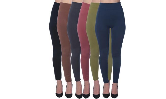 9aa0833813b7e 6 Pack Women's Fleece Lined Leggings - Seamless High Waisted soft Brushed