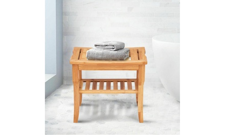 Costway Shower Seat Bench Bamboo Bathroom Spa Bath Stool with Storage Shelf