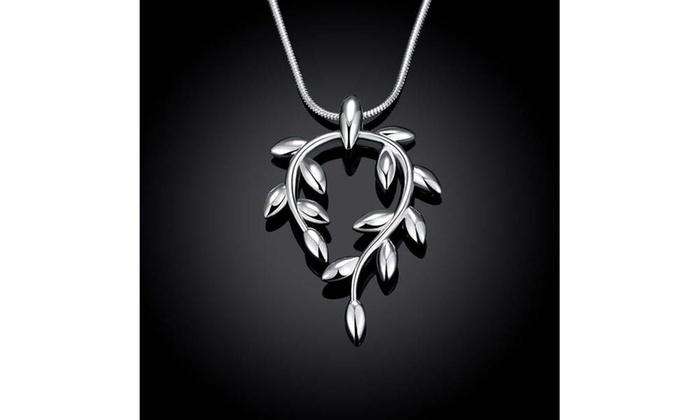 Up to 98 off on silver curved orchid pendant groupon goods silver curved orchid pendant womens necklace aloadofball Choice Image
