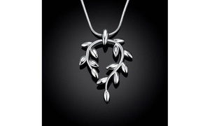 Silver Curved Orchid Pendant Women's Necklace