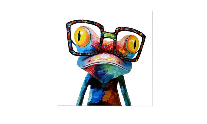 modern abstract huge wall art oil painting on canvas glasses frog