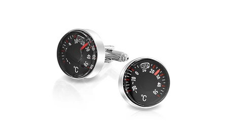 Bling Jewelry Stainless Steel Plated Degree Thermometer Cufflinks