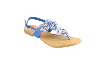 Beston EB89 Women Sparkly Diamonds Buckled Slingback Thong Sandal c2c5eb86-3681-440e-8ee4-b06042a86ddb