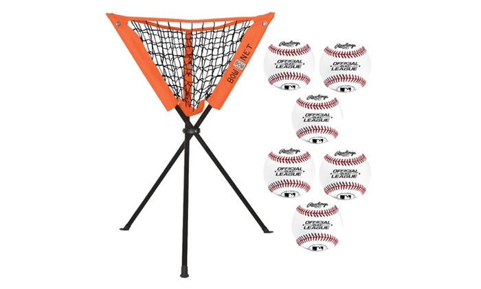 Bownet Batting Practice Caddy w/ 6 Rawlings Offical League Baseballs