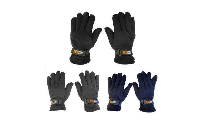 Mens Fleece Lined Adjustable Warm Winter Gloves