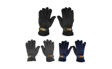 Mens Fleece Lined Adjustable Warm Winter Gloves ed0ed44e-2b39-43cc-b532-d875ab168c2f