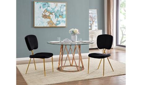 Kristene Velvet Upholstered Dining Chair with Half Back (Set of 2)