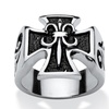 Men's Square Cross Ring in Stainless Steel