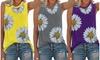 Women Daisy Printed Vest T-Shirt Sleeveless Workout Blouse Summer Tank Top