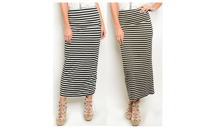 Banded Fold Over Striped Waist Jersey Long Maxi Skirt