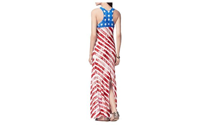 82cda8b12c2 SHH Women s Long American Flag Long Maxi Dresses Patriotic Outfits ...