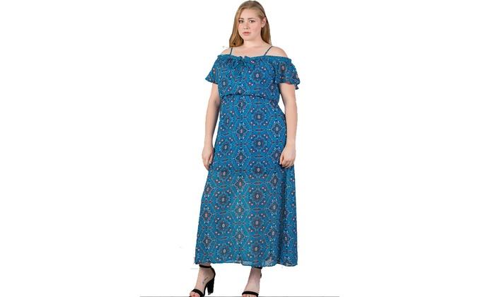 Ladies fashion plus size blue & floral print cold shoulder maxi dress