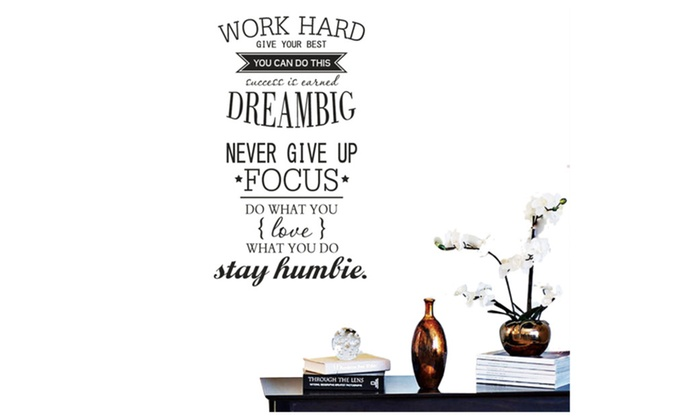 Office Motivational Quotes Wall Sticker Never Give Up Work Hard