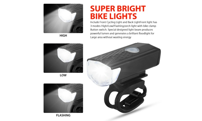 LED Bicycle Headlight USB Rechargeable Bike Head Light Front Rear Lamp Cycling