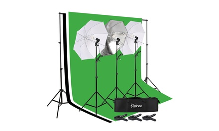 Kshioe Photo Photography Umbrella Lighting Kit Studio Light Bulb Backdrop Stand