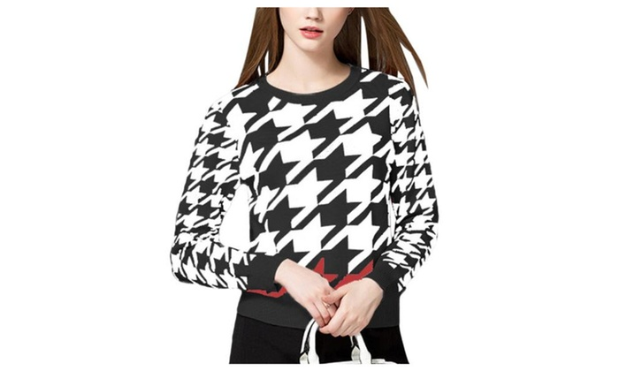 Women's Colorblock Pullover Straight Hem Graphic Pullovers