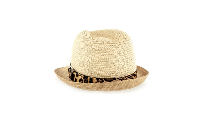2f5fb0a77c5 ... Weave Fedora Hat With Leopard Leather. Faddism Fashion Fabric Straw .