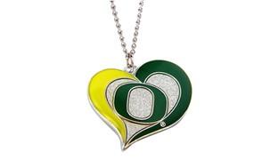Oregon Ducks Swirl Heart Necklace NCAA Charm Gift