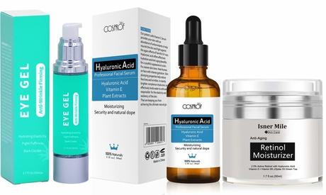 Anti-Aging Hyaluronic Acid Serum & Retinol Moisturizer Cream with Eye Gel Set