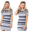 Women Short Sleeve Party Skinny Sexy Knitted Striped Dresses
