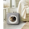 Gray Cat Cave Hide Out Cube Bed 13 x 12 Removable Pillow Makes Cat Feel Safe Cub
