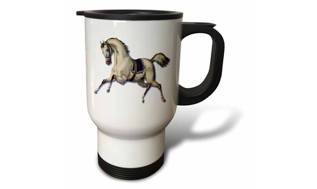 Travel Mug Victorian White Horse Galloping Wearing a Blue Blanket Saddle - 14o