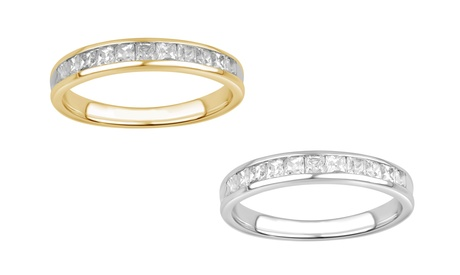 1/2 cttw Princess Diamond Wedding Band 10K Solid Gold Jewelry