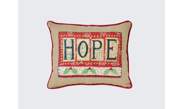 Hope Decorative Pillow : BURLAP HOPE 16