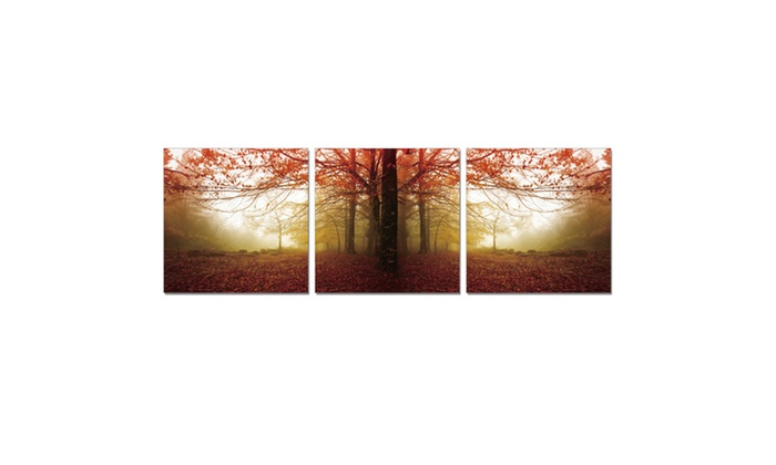 Furinno Senic Autumn Leaves 3 Panel Canvas On Wood Frame 60 X 20 In