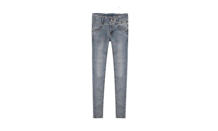 Women's Skinny ButtonsUp Korean Solid Solid Jeans