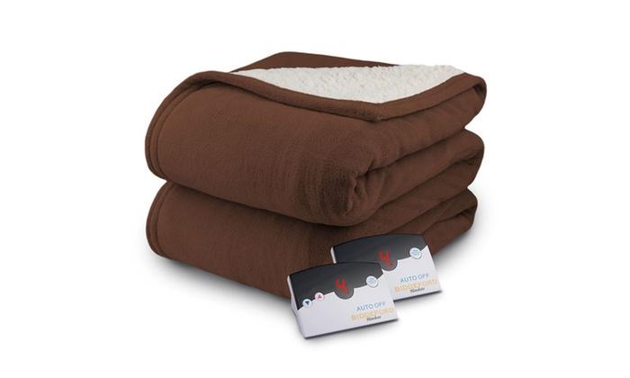 Biddeford Micro Plush Sherpa Electric Heated Blanket Queen