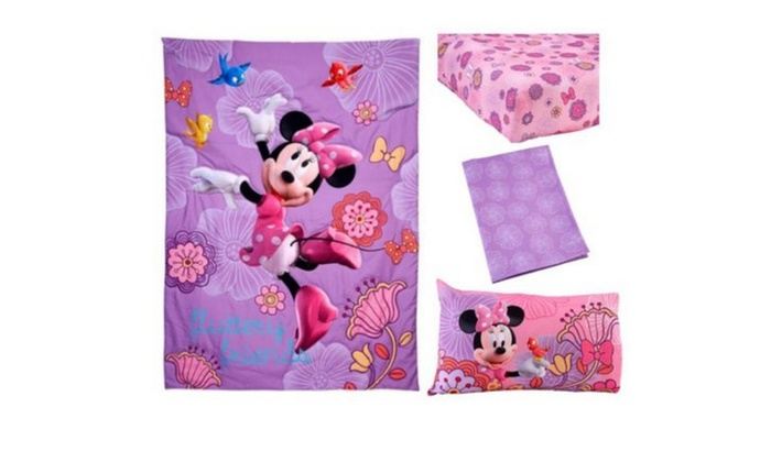 Minnie Mouse Fluttery Friends 4-Piece Toddler Bedding Set | Groupon