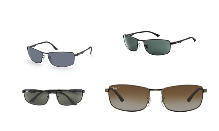 4a1483b320 Ray Ban By Rayban RB3498 Polarized Rectangular Sunglasses