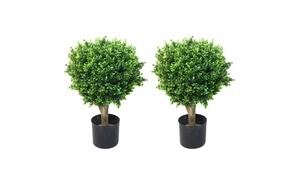"Set of 2 24"" Pure Garden Hedyotis Artificial Tree Topiary In/Out Door"