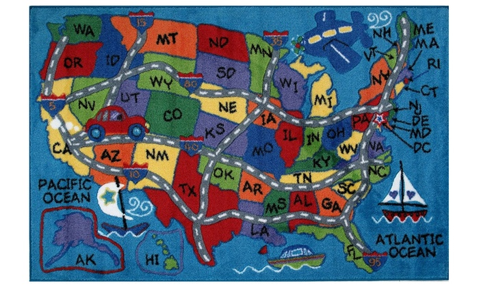 Multi Color United States Map Travel Boat Airplane Road Kids Area