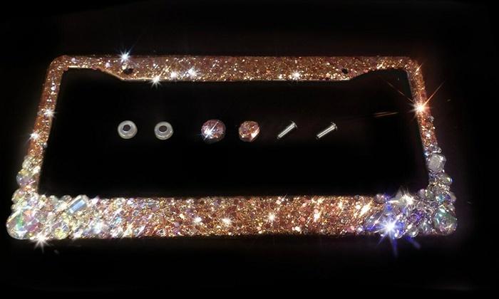 Glitter Bling Diamond Crystal Rhinestone License Plate Frame; Silver Metal