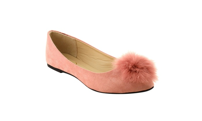 Beston IE85 Women's Pom Pom Point Toe Slip On Ballet Flats