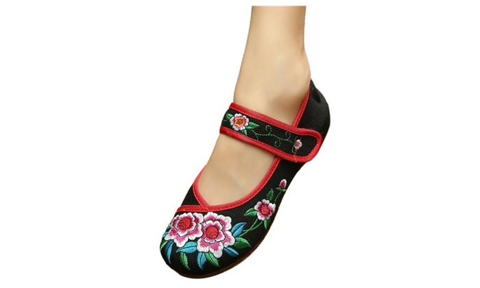 Women's Floral Embroidered Mary Jane Oxford Shoes