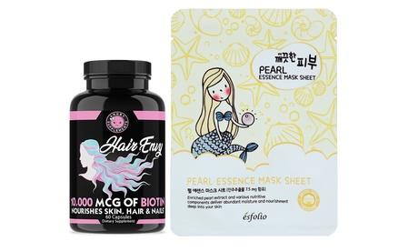Hair & Skin Revival Set: Hair Envy 10,000 mcg Biotin & Pearl K-Beauty Face Mask
